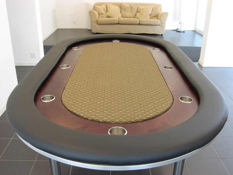 Pokertisch: Rail Carbon Fiber Vinyl Black / Racetrack Birke, Red Mahogany / Playing Surface Suited Speed Cloth Bronze