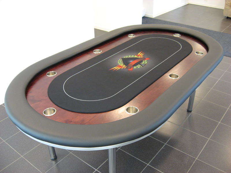 Pokertisch: Rail Carbon Fiber Vinyl Black / Racetrack Birke, Red Mahogany / Playing Surface Dye-Sublimation