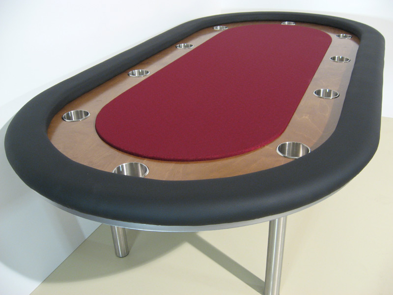 Pokertisch: Rail Whisper Vinyl Black / Racetrack Birke, Colonial Maple (heller) / Playing Surface Suited Speed Cloth Burgandy