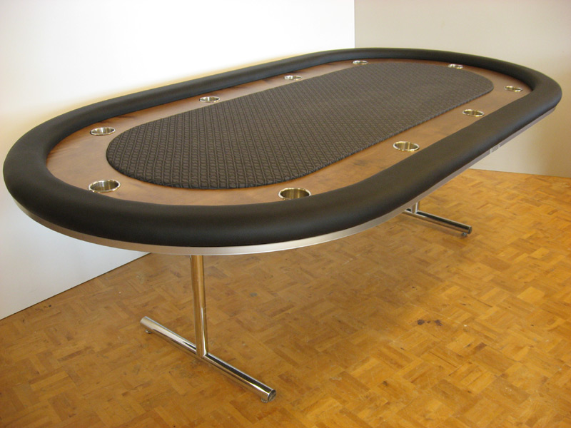 Pokertisch: Rail Whisper Vinyl Black / Racetrack Birke, Colonial Maple / Playing Surface Suited Speed Cloth Grey Black