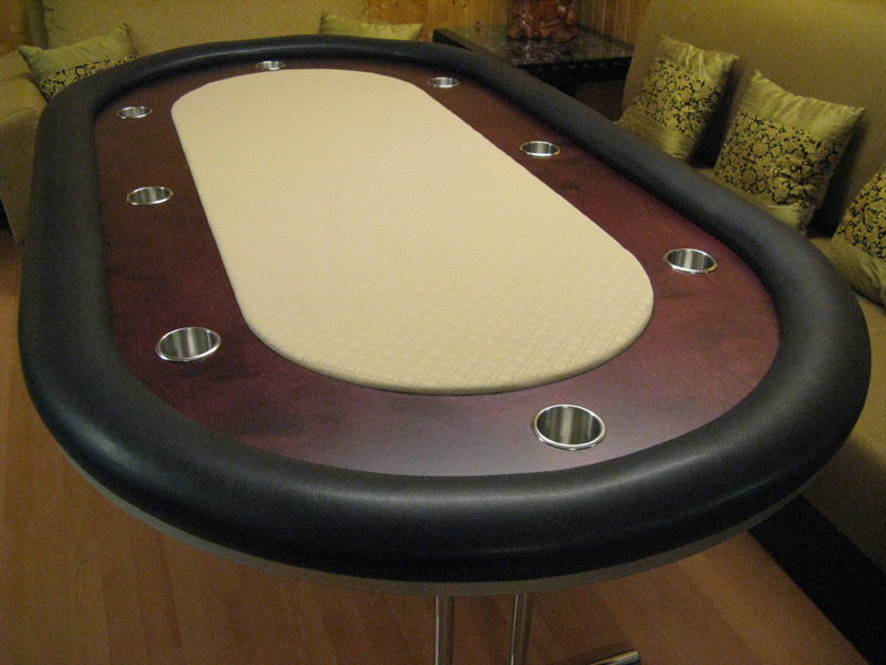 Pokertisch: Rail Snake Vinyl Ebony / Racetrack Birke, Red Mahogany / Playing Surface Suited Speed Cloth Buff