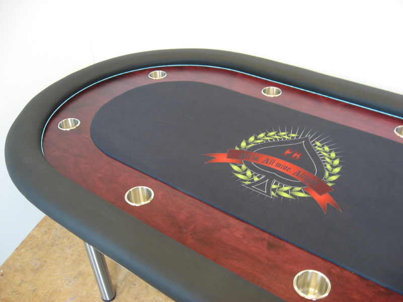 Pokertisch: Rail Whisper Vinyl Black / Racetrack Birke, Red Mahogany / Playing Surface Custom Print Cloth (Dye-Sublimation)