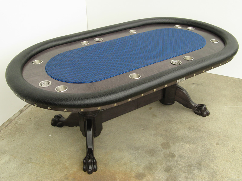 Pokertisch: Rail Croco Vinyl Black / Racetrack Birke, Ebony / Playing Surface Suited Speed Cloth Midnight Blue