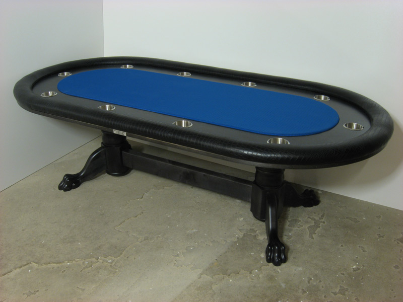 Pokertisch: Rail Croco Vinyl Black / Racetrack Ahorn, Ebony / Playing Surface Suited Speed Cloth Royal Blue