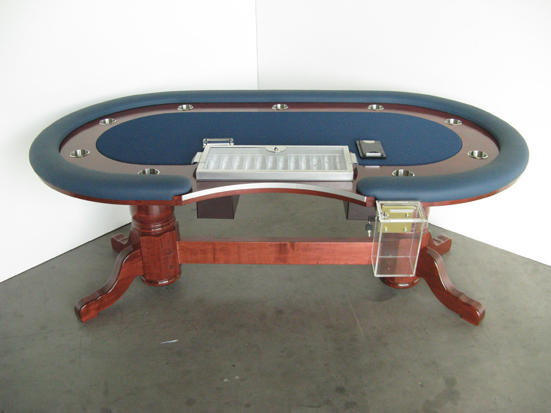Pokertisch: Rail Whisper Vinyl Cerulean / Racetrack Ahorn, Red Mahogany / Playing Surface Suited Speed Cloth Navy
